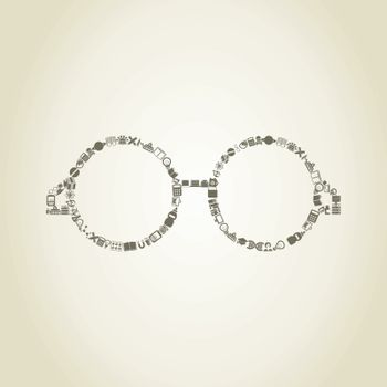 Glasses made of objects of science. A vector illustration
