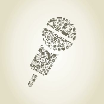 Microphone made of music subjects. A vector illustration