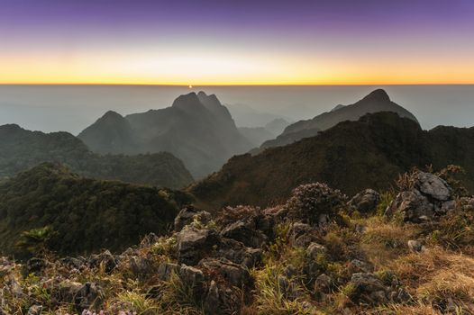 Beautiful sunset in rainforest at Doi Luang Chiang Dao ,Chiang Mai ,Thailand.