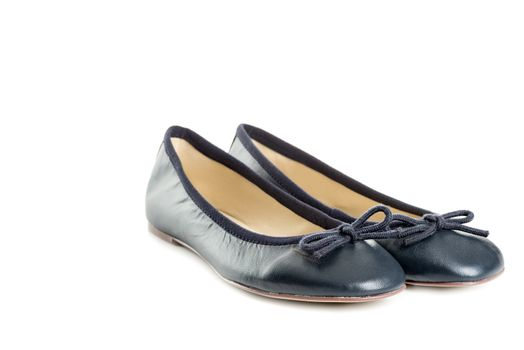 Pair of female shoes over white background left view