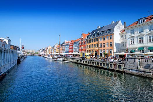 Nyhavn promenade in Copenhagen Denmark wide