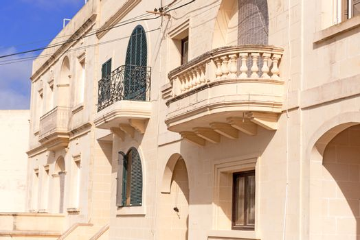 Facade of residential building with balcony