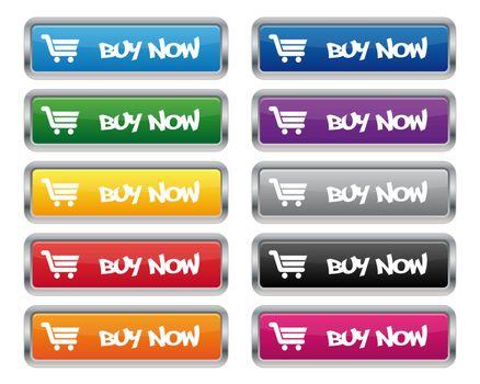 Buy now metallic rectangular buttons