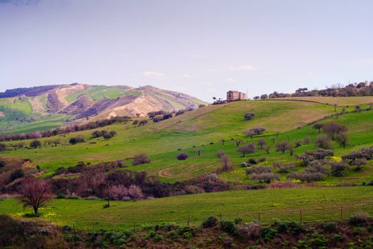 View of Sicilian countryside in the spring season
