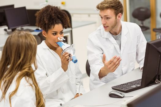 Medical students working together in the lab at the university