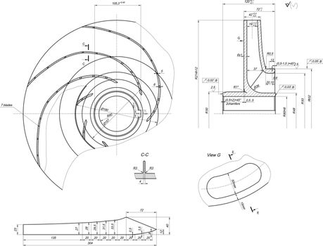 Expanded sketch of engineering wheel with blades