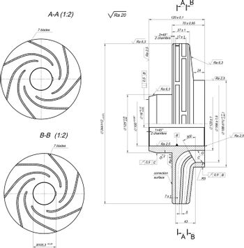 Sketch of wheel with section and blades