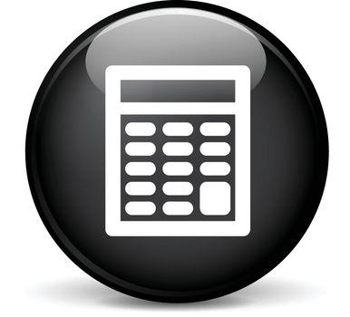 Illustration of calculator modern design black sphere icon
