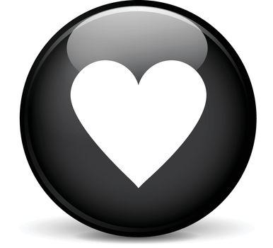 Illustration of heart modern design black sphere icon
