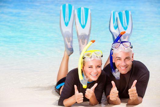 Joyful diver couple