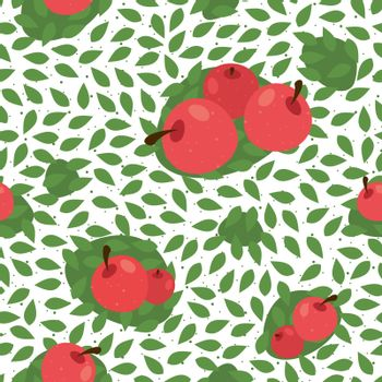Seamless floral pattern background with fruits