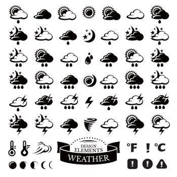 Collection of different weather icons vector illustration