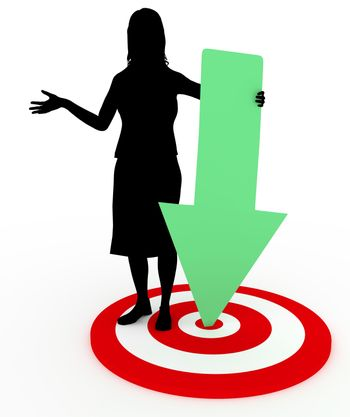 Illustration of a woman holding a green arrow pointing to the middle of a target