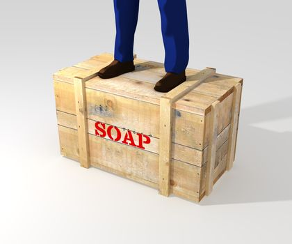 Illustration of a person standing on a soapbox