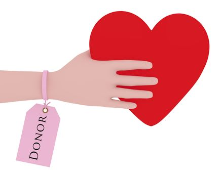 Illustration of a person with a donor tag holding a heart