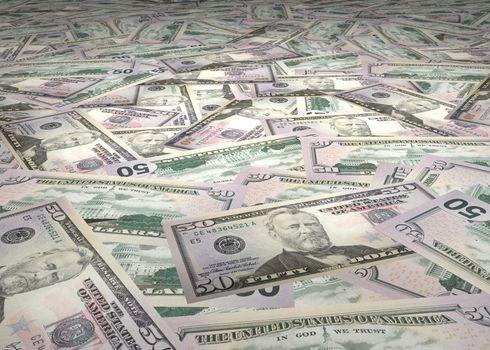 large amount of 50 Dollar Bills scattered across the floor