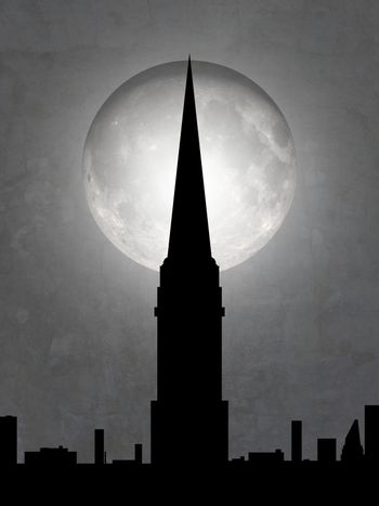 Illustration of a cityscape with tall tower and moon in the background