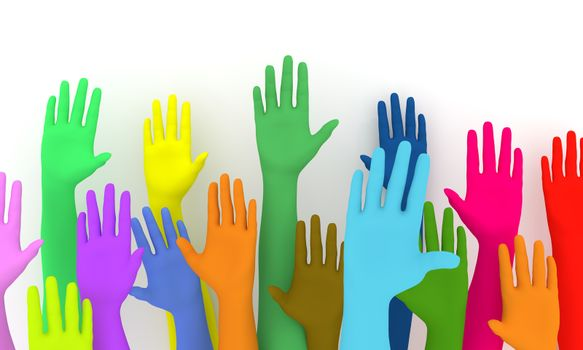 Illustration of a colorful group of raised hands