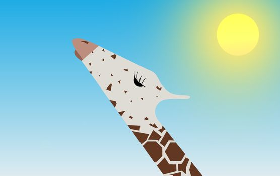 Illustration of a Giraffe head in front of a sunny sky background