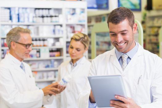 Pharmacist using the tablet