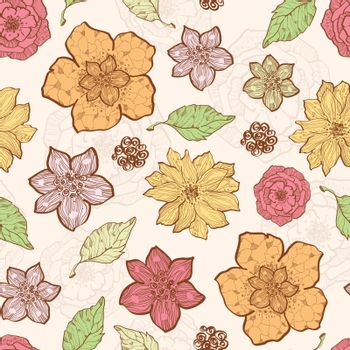 Vector warm fall lineart flowers seamless pattern background graphic design