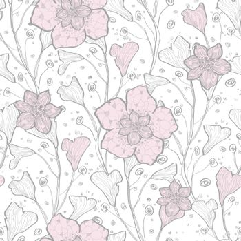 Vector magical lace flowers seamless pattern background graphic design