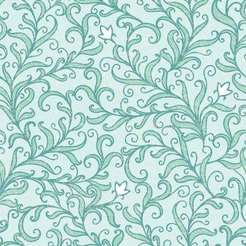 Vector green floral swirls seamless pattern backround graphic design
