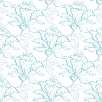 Vector light blue lace florals seamless pattern background graphic design