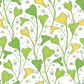 Vector green line art plants seamless pattern background graphic design
