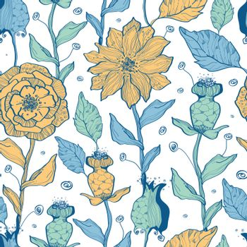Vector whimsical flower garden seamless pattern background graphic design