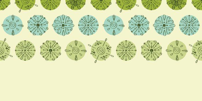 Vector abstract green polka dot stripes horizontal border seamless pattern background graphic design