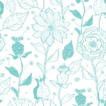 Vector aqua lineart flowers seamless pattern background graphic design