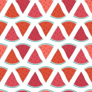 Vector tasty watermelon slices seamless pattern background graphic design