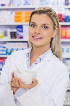 Pharmacist mixing a medicine