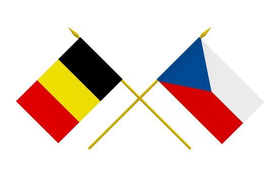 Flags, Belgium and Czech