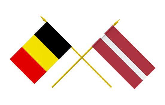 Flags, Belgium and Latvia