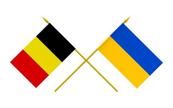 Flags, Belgium and Ukraine