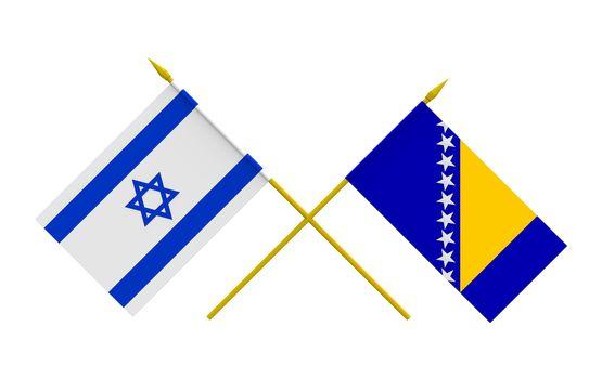 Flags, Bosnia and Herzegovina and Israel