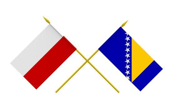 Flags, Poland and Bosnia and Herzegovina