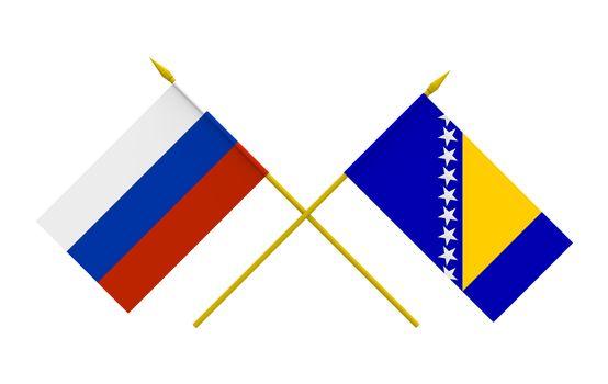 Flags, Bosnia and Herzegovina and Russia