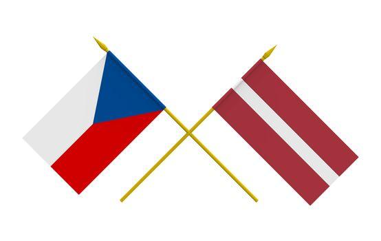 Flags, Czech and Latvia