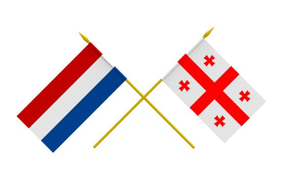 Flags, Georgia and Netherlands