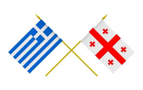 Flags, Georgia and Greece