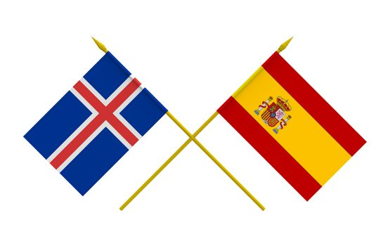 Flags, Iceland and Spain
