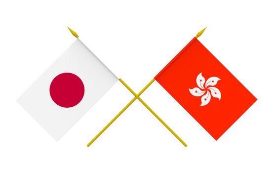 Flags, Japan and Hong Kong