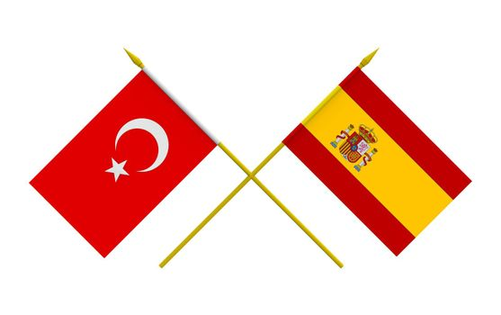 Flags, Spain and Turkey