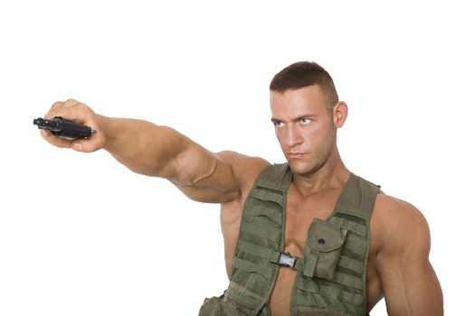 Proud soldier with gun.