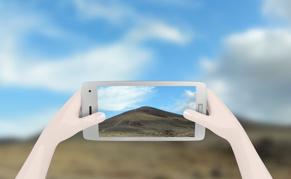 Illustration of a person taking a landscape photo on a smart phone