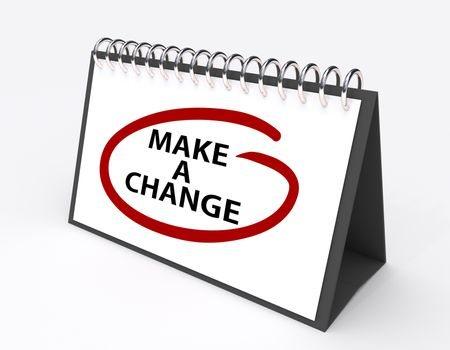 """Calendar with the saying """"Make a change"""" circled in red"""