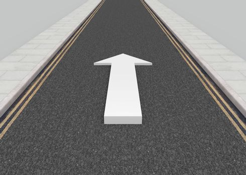Illustration of a long road with a white arrow pointing forwards